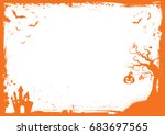 horizontal halloween orange... | Shutterstock .eps vector #683697565