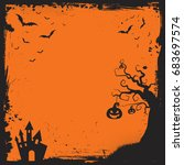 square halloween element with... | Shutterstock .eps vector #683697574