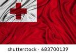 3d flag of tonga silk texture | Shutterstock . vector #683700139