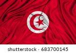 3d flag of tunisia silk texture | Shutterstock . vector #683700145
