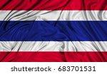 3d flag of thailand silk texture | Shutterstock . vector #683701531