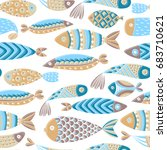 seamless pattern with fishes.... | Shutterstock .eps vector #683710621