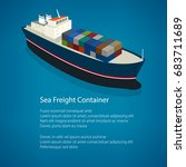 isometric container ship on the ... | Shutterstock .eps vector #683711689
