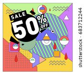 summer sale memphis style web... | Shutterstock .eps vector #683712244