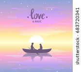 romantic silhouette of loving... | Shutterstock .eps vector #683720341