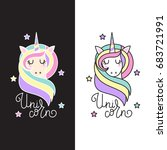 Cute Unicorn With Stars And...
