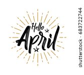 hello april   firework   vector ... | Shutterstock .eps vector #683722744