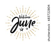 welcome june   firework  ... | Shutterstock .eps vector #683722804