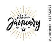 welcome january   firework  ...   Shutterstock .eps vector #683722915