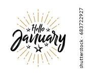 hello january   firework  ... | Shutterstock .eps vector #683722927