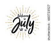 welcome july   firework  ... | Shutterstock .eps vector #683723527