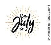 hello july   firework   vector...   Shutterstock .eps vector #683723545