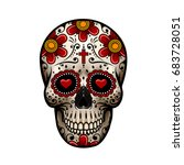 day of the dead skull. skull... | Shutterstock .eps vector #683728051