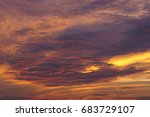 fiery orange sunset sky.... | Shutterstock . vector #683729107