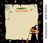 happy halloween background... | Shutterstock .eps vector #683730541