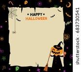 happy halloween background... | Shutterstock .eps vector #683730541