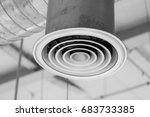 Small photo of Air Duct or Air Conditioners Pipe, Danger and the cause of pneumonia in office man.