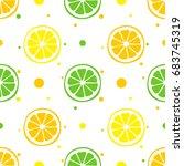 seamless pattern with lemons ... | Shutterstock .eps vector #683745319