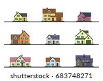 set of urban and suburban... | Shutterstock .eps vector #683748271
