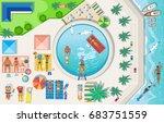 summer beach set. recreation ... | Shutterstock .eps vector #683751559