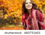 fashion woman walking in autumn ... | Shutterstock . vector #683751601