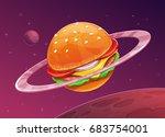 cartoon burger planet icon on...
