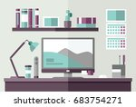 work office desk with computer... | Shutterstock .eps vector #683754271