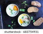 breakfast baked eggs with... | Shutterstock . vector #683754931