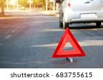 a broken car in the middle of...   Shutterstock . vector #683755615