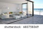 modern bright living room. 3d... | Shutterstock . vector #683758369