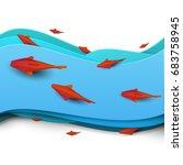 paper cut cartoon red fish on... | Shutterstock .eps vector #683758945