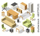 isometric office furniture. 3d... | Shutterstock .eps vector #683759131
