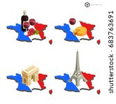 map of france in isometric view ... | Shutterstock .eps vector #683763691