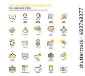 set of modern flat line icon... | Shutterstock .eps vector #683768377