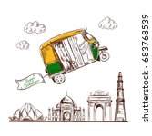 india. travel. hand drawn... | Shutterstock . vector #683768539