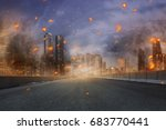 portrait of disaster with fires ... | Shutterstock . vector #683770441