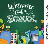blackboard with greeting  first ...   Shutterstock .eps vector #683770657