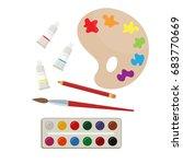 set of paints and brush  art... | Shutterstock .eps vector #683770669