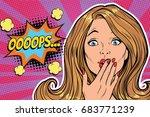 oops surprised pop art woman... | Shutterstock .eps vector #683771239