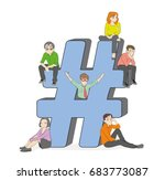hashtag concept illustration of ... | Shutterstock .eps vector #683773087