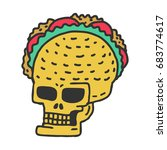 skull taco drawning. mexican... | Shutterstock .eps vector #683774617