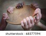 grunge image of many hands... | Shutterstock . vector #68377594