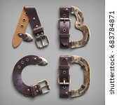 3d vintage steam punk alphabet... | Shutterstock . vector #683784871