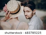 stylish hipster couple walking... | Shutterstock . vector #683785225