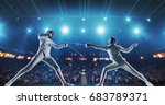 two female fencing athletes... | Shutterstock . vector #683789371