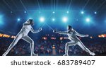 two female fencing athletes... | Shutterstock . vector #683789407