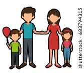 family with kids | Shutterstock .eps vector #683794315