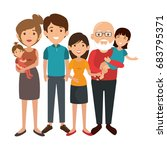 family with kids | Shutterstock .eps vector #683795371