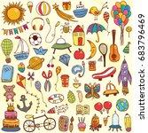 vector hand drawn doodle kids... | Shutterstock .eps vector #683796469