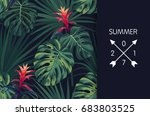 green tropical design with palm ... | Shutterstock .eps vector #683803525